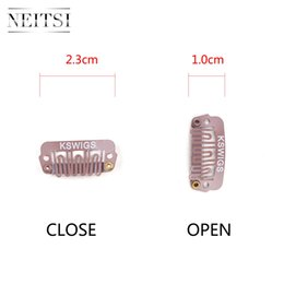 Wholesale wholesale hair snaps - Neitsi Professional U-Shape Metal Snap Clips For DIY Clip In Hair Extensions 2.3cm 50pcs lot Brown#