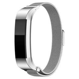 Wholesale Customized Stainless Bracelets - Wholesale-12mm High Qualty Watch band strap Replacement Milanese Magnetic Loop Stainless Steel Customized Band For Fitbit Alta Smart Watch