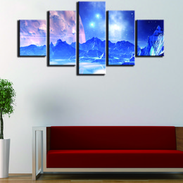 Wholesale Mountain Posters - 5 Pieces Snow Mountains In Outer Space Canvas Paintings Unframed Wall Art Printed Picture For Home Decor Room Poster