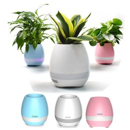 Wholesale Plant Sensor - CRESTECH bluetooth music Flower-ports intelligent real plant touch sensor flowerpot colorful led night light bass bluetooth speaker