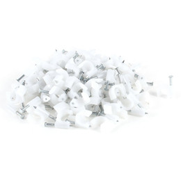 ethernet cable wireless Coupons - Wholesale- 200 Pcs 8mm Diameter Electric Cable White Plastic Circle Nail Clips