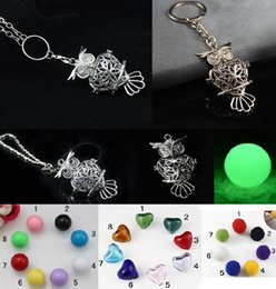 Wholesale Key Chain Lockets Jewelry - 2017 Trendy Essential Oil Diffuser Perfume Jewelry Owl Shaped Pendant Necklace Key Chain Alloy Aromatherapy Lockets Necklace