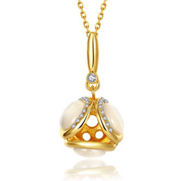 Wholesale Rose Gold Mosaic - Good A++ mosaic 18k gold jewelry necklace fit women GGN900,Yellow Gold White gemstone Pendant Necklaces with chains