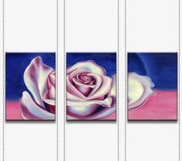 Wholesale Modern Canvas Art Roses Paintings - 3 piece wall flower oil painting on canvas wall painting rose wall art home Modern art Painting