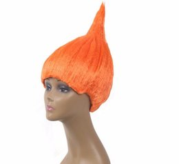 Wholesale Wig Accessories Supplies - 20pcs Trolls Wig for Kids Adults Costume Cosplay Party Supplies Party Cosplay Wig 8 Colors In Stock Wholesale wa2969