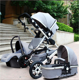 Wholesale Pram Stroller Carriage - Baby Stroller 3 in 1 With Car Seat High Landscope Folding Baby Carriage For Child From 0-3 Years Prams For Newborns