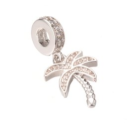 Wholesale Coconut Jewelry Wholesale - Silver Jewelry Pendant Charm ECO-Friendly Cubic Zirconia Coconut Tree Micro Pave Charm Pendant for DIY ICPS017 Size 28.1*12.4mm