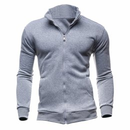 Wholesale hoodie double zipper - 2017 Fashion Brand Sweatshirts Men zipper Hoodies Black Patchwork Slim Men's Casualwear Suit Men Coat Plus size M-XXXL