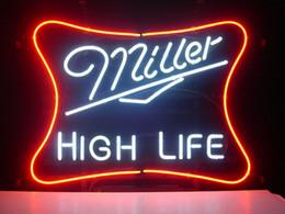 """Alta obra de arte online-17 """"x 14"""" Miller High Life Man Cave Retro Real Glass Luz de neón Signo Inicio Cerveza Pub Pub Ilustraciones Exhibición de publicidad Signo"""