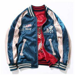 Wholesale Japan Women Jacket - Japan Yokosuka Embroidery Jacket Men Women Fashion Vintage Baseball Uniform Both Sides Wear Kanye West Bomber Jackets