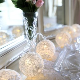 Wholesale Lace Hanging Ball Wholesale - Romantic led string light with white lace ball hanging light, powered by AA battery,2 3 4 meter option for wedding decoration