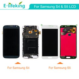 Wholesale Display Screen Galaxy S4 - LCD Display For Samsung Galaxy S4 S5 Touch Screen Digitizer Assembly 100% No Dead Pixel with Free DHL Shipping