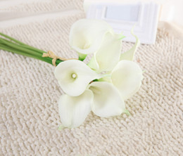 Wholesale Real Silver Wholesale - Wholesale 30pcs Real Touch Decorative Artificial Flowers Calla lily Wedding Bouquet Artificial Wedding Bouquet Party Supplies 20 colors