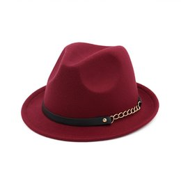 Wholesale Black Wool Belt - Fashion 2017 New Arrive Casual Spring Winter Warm Fedoras Vintage Wide-Brim Hats for Women Floppy Cap Belt Ladies Imitation Wool