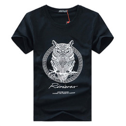 Wholesale Owl T - 4 Colors S-5XL Men's Summer Casual Tops Hipster Machinery Owl Printed T Shirt Fashion Hipster Tees Short sleeve