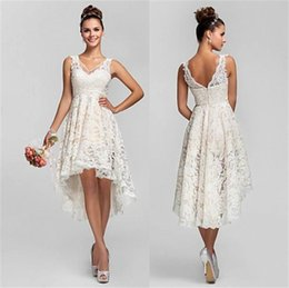 Wholesale Champagne Wedding Gowns Prices - Vintage Full Lace V Neck High Low Wedding Dress High Quality Factory Custom Made Summer Beach Hi-Lo Bridal Party Dresses Gown Cheap Price