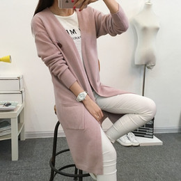 Wholesale Ladies Long Sleeves Cardigan Sweater - Wholesale- 2016 Women's Long Cashmere Wool Cardigan Long Sleeve V-neck Autumn Tops Knitted Sweater Cardigans Outerwear Ladies Coat JN410