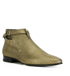 Marcas de botas pontudas para homens on-line-Tamanho grande Stripe Shoes Ankle Boots de Couro Genuíno Ouro Apontou Toe Zipper Martin Botas de Salto Plana Marca de Moda Homens Botas