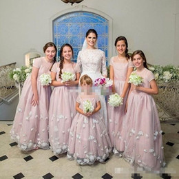 Wholesale Cheap T Shirts For Kids - Custom Made Flower Girl Dresses for Wedding Blush Short Sleeve 3D Flowers Jewel 2017 Cheap Junior Bridesmaid Dress Kids Birthday Party Gowns