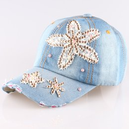 Wholesale Starfish Rhinestones - New Arrivals Hot Sale High Quality Starfish Denim Baseball Cap Bling Rhinestone Crystal Adjustable Snapback Hat Wholesale