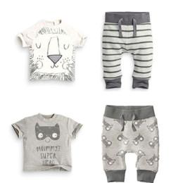 Wholesale Boys Zebra Harem Pants - Fashion Baby Clothes Sets Newborn T-Shirts Harem Pant Suit Boys Outfits Bebe Clothing Lion Short Sleeve Infant Jumpsuits Cotton Tee Shirts