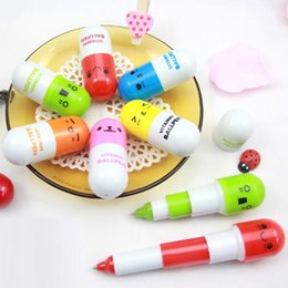 Wholesale Telescopic Ball - New kawaii 2pcs lot Cute Smiling Face Pill Ball Point Pen Telescopic Ballpen For School Students Prize Kid Toy Stationery Material Escolar