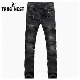 Wholesale Jeans Pattern Design - Wholesale-TANGNEST New Arrival Cool Design Fashion High Quality Autumn Denim Pants Casual Comfortable Full Length Jeans Male MKN744