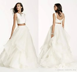 Wholesale Newest Two Pieces Mikado Crop Top Wedding Dresses Bateau Back with Buttons Fully Lined Summer Bohemian Beach Bridal Gowns Customized