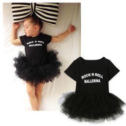 Wholesale Girls Black Ballet Tutu - Baby girls ballet dress romper infants letters print tutu dress dance romper rock n roll ballerina printing short sleeve summer outfits