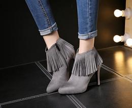 Wholesale Wholesale Women Heels Pumps - Women's high heel leather tassel ankle boots Shoes Fashion Gorgeous Party Pumps shoes Christmas gift 9cm black grey US3-7.5 brand new