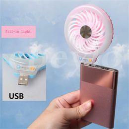 Wholesale New Stocking Styles - New Style Mini portable Small USB Led Fan Without battery USB small fans luminous night light beauty fill light fan multi-purpose type