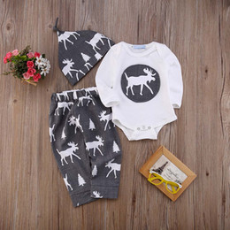 Wholesale 18 Month Christmas Outfit - Baby boy girl Christmas toddler romper+pants+hat three-piece outfits deer pattern kid clothing cotton jumpsuit children XMAS clothes 0-24M
