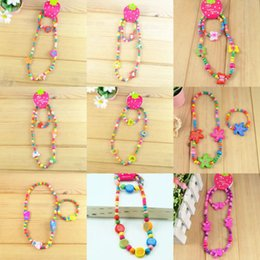 Wholesale Mixed Wood Bead Necklace - Wholesale 100pcs 50 sets children Jewelry Mixed Design Wood Beads Necklace Bracelet Gift