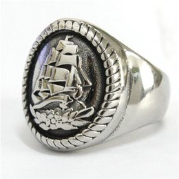 Wholesale Anchor Anniversary Gifts - 2017 New Fashion Heavy Big Sea Ship Ring 316L Stainless Steel Polishing Silver Anchor Ship Biker Ring