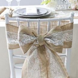 fajas de sillas de arpillera Rebajas 15 * 240 cm Naturalmente Elegante Silla de Encaje de Arpillera Fajas Yute Silla Tie Bow Para Rústico Wedding Party Evento Decoración ZA1887