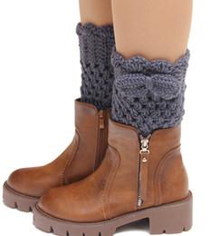 Wholesale Wholesale Fashion Socks Gloves - Wholesale- 2015 new popular ladies knitting wool flower bow short paragraph autumn winter boots socks gloves fashion women leg warmers
