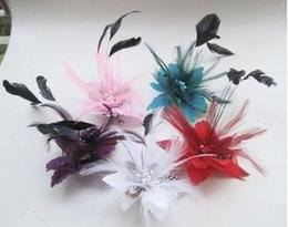 Wholesale Wrist Feather Corsage - Chiffon Rose Fabric Flower Wedding Corsage Pin Brooch With Feather Wrist Flowers Clothing Accsseries for Wedding Bridal Groom Supplies