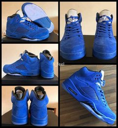 Wholesale Christmas Ball Top - 2017 Air Retro 5 V Raging Bulls Blue Suede Mens Basketball Shoes Top Quality Retros 5s Bull Basket ball Sports Sneakers With Box