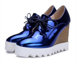 Wholesale Platform Oxford Flats - Bling Patent Leather Oxfords 2016 Wedges Gold Silver Platform Shoes Woman Casual Creepers Pink High Heels High Quality XWD3438