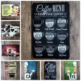 Wholesale Metal Craft Ornaments - Tin Sign Creative Coffee Metal Painting For Home Wall Ornament Retro Art Poster Decoration Arts And Crafts Gift 4 99ljb C