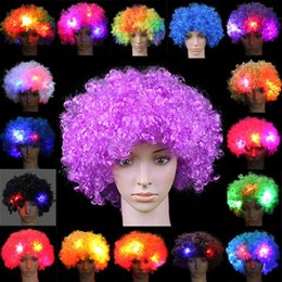 Wholesale Fans Parts - 2017 New Colorful Clown HairWig Cosplay Wavy LED Light Up Flashing HairWig Funny Fans Circus Halloween Carnival Glow Party Supplies
