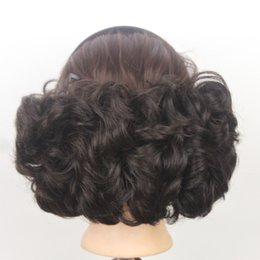 Wholesale curly pony tail hair extensions - 2017 Bun Cover Hairpiece Curly Big Buns Hair Style Chignon With Comb Clip In Pony tail Extensions Bridal Elastic Net Hair Pad