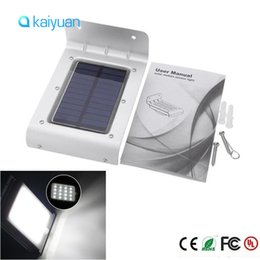 Wholesale Wholesale Solar Powered Path Lights - free ship led PIR Solar Powered Wall Lamp 16 LED LEDs Lights Wall Light Ray Motion Sensor Light Motion Detection Path Garden Yard light