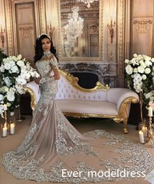 Wholesale Wedding Sparkly Dress Sexy - Luxury Wedding Dresses 2017 Champagne High Neck Sheer Lace Appliqued Illusion Long Sleeves Bling Beading Sparkly Mermaid Birdal Gowns Custom