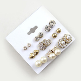 Wholesale Pearls Value - 9 Pairs Set Earrings Fashion Elegant Shiny Gold Colour Heart Crystal Pearl Flowers Stud Earrings Cute Super Value Earring Sets
