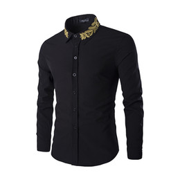 Wholesale Thread Embroidery Dresses - Free Shipping Korean version of gold thread olive embroidery shirt men punk style Slim long-sleeved shirt