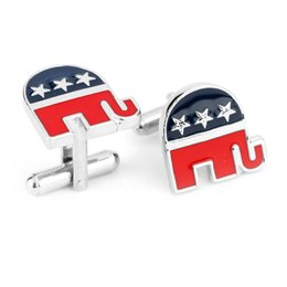 Wholesale Bar Cufflinks - free shipping Republican Elephant Cufflinks and Tie clip Bar Gift Set For Men Jewelry Cuff Links