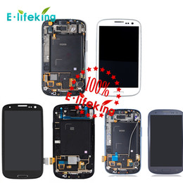 Wholesale Galaxy S3 Lcd Black - For Samsung Galaxy S3 i9300 Lcd Touch Screen Digitizer Displaiy with Frame Full Assembly Repair Parts + Free DHL Shipping+Black&Blue&White