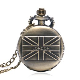 Wholesale England Watch - Wholesale-London letter England UK flag design pocket watch men women gift relogio masculino P560