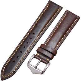 Wholesale Relojes Retro - Watchbands Retro Genuine Leather Brown Men 20 22 24mm Soft Watch Band Strap Metal Pin Buckle Accessories Relojes Hombre 2016